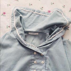 Seafoam mint green sailor collar cotton dress